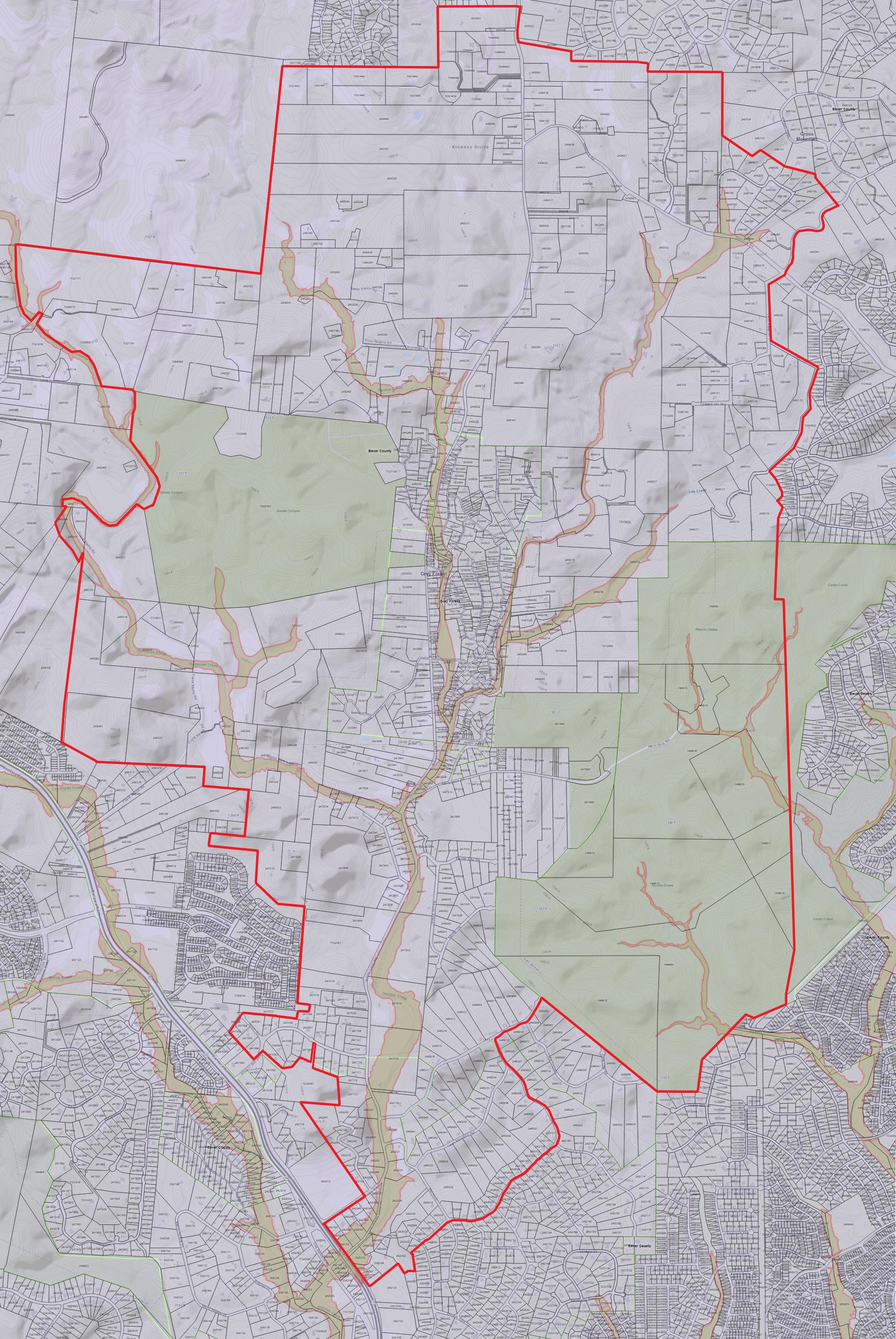 Scenic Loop - Helotes Creek Alliance Neighborhood map with Waterways
